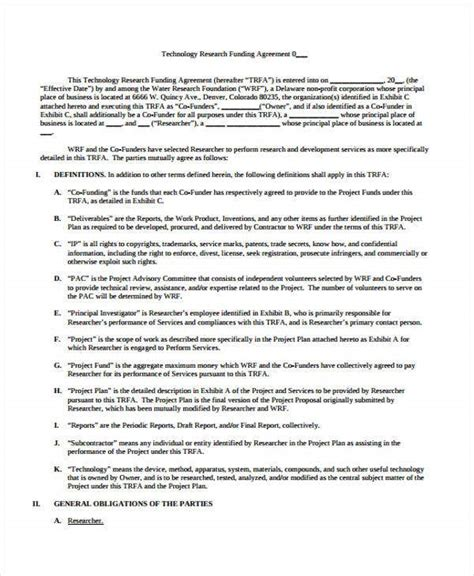 funding agreement templates  word  format