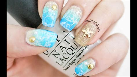 water spotted beach nails  ways youtube