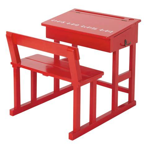 bureau enfant en bois rouge   cm pupitre maisons du monde
