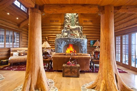 interior wooden house column wooden tower fireplace fire