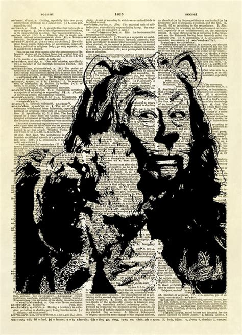 wizard  oz cowardly lion dictionary art print altered