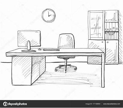 Office Sketch Drawn Furniture Oficina Dibujo Line