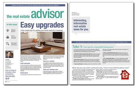 real estate newsletter templates real estate advisor newsletter template volume 3 issue 12
