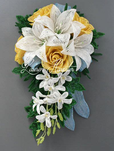 french beaded flower wedding bouquets   beautiful