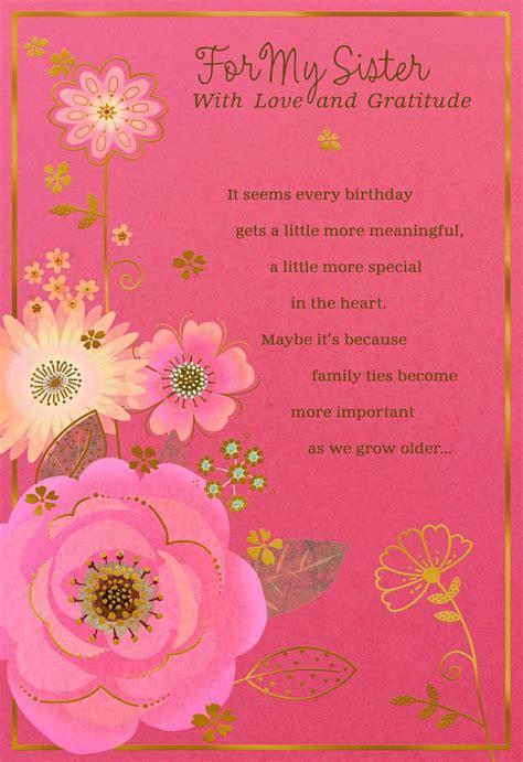 love  gratitude flowers birthday card  sister