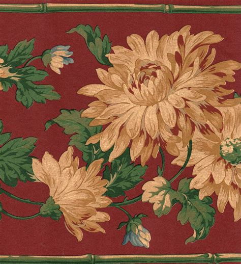 Wallpaper Of Border by Cranberry Gold Floral Wallpaper Border Ebay