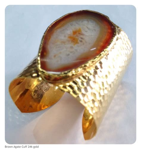 brown agate cuff bracelet  gold plated beadshines