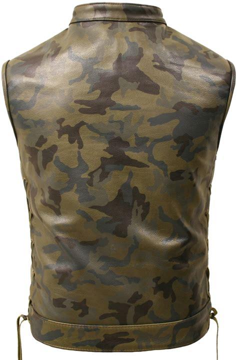 hillside usa  leather camouflage biker vest