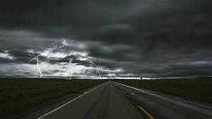 Nature, Landscape, Road, Storm, Lightning, Sky, Clouds, Field, Long, Exposure, Road, Sign, Fence