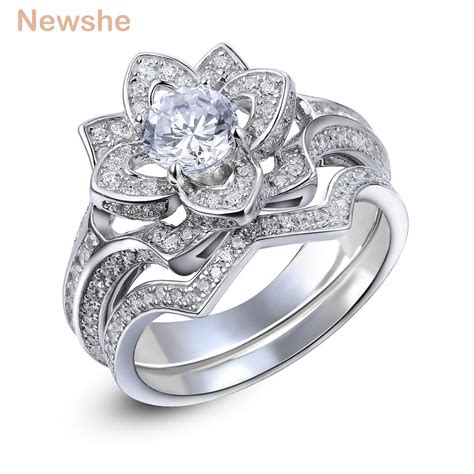 newshe 2 2 ct flower wedding ring solid 925 sterling silver engagement band fashion jewelry