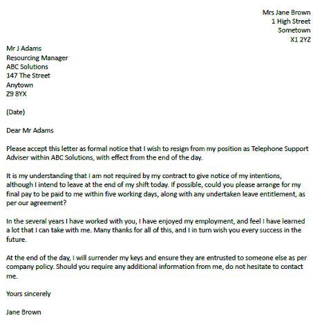 resignation letter   notice period
