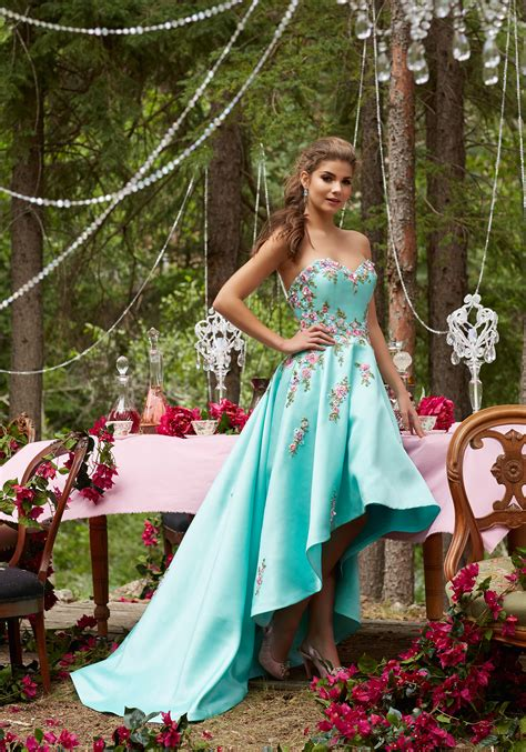 satin prom dress    hemline style  morilee