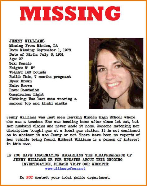 missing person poster template sle missing person poster images