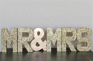 gold silver glitter stand up paper mache quotmr mrsquot sign With mr and mrs stand up letters