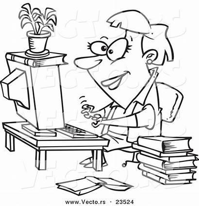 Coloring Computer Working Outline Cartoon Businesswoman Malvorlagen