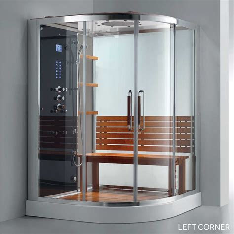 Steam Shower Enclosure 59 quot x 59 quot frewin corner steam shower enclosure in 2019