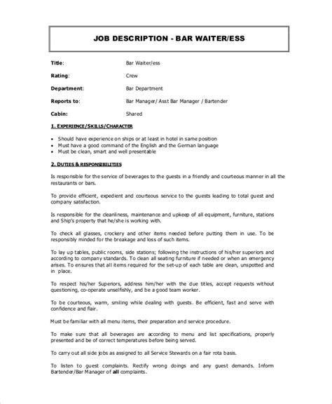 Waitress Description Duties 6 waitress descriptions free sle exle format free premium templates