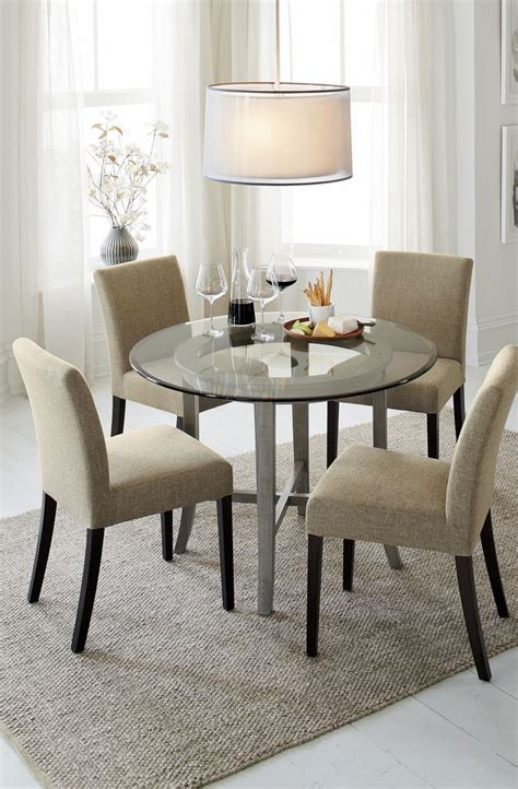 crate and barrel round dining table halo grey round dining table with 42 quot glass top beauty