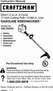 Craftsman 358795550 User Manual Weedwacker Manuals And