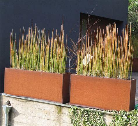 corten steel planter corten steel planters with horse tail rush containers of the garden pinterest steel