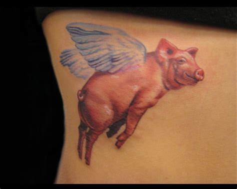 Flying Pig Tattoo winged pig flying color ink tattoo 1000 x 800 · jpeg