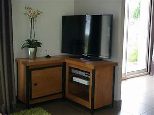 Meuble Angle Bois : meuble d 39 angle salon bois ~ Edinachiropracticcenter.com Idées de Décoration