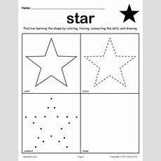 Free Star Shape Worksheet Color, Trace, Connect, & Draw  Worksheets, Activities, & Lesson