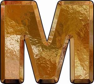 presentation alphabets gold leaf letter m With gold letter m
