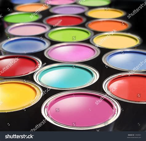 Just need few a minutes and your design will be look great with this mockup. Opened Paint Buckets With Various Colors Stock Photo ...