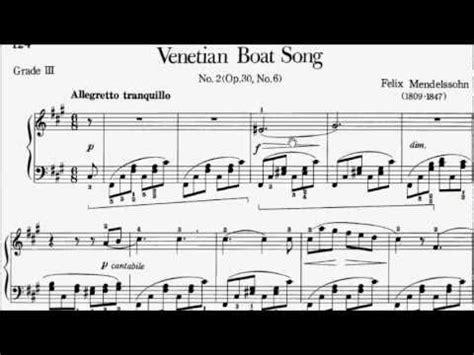 Venetian Boat Song No 1 by Piano Pieces For Children Grade 3 No 38 Mendelssohn