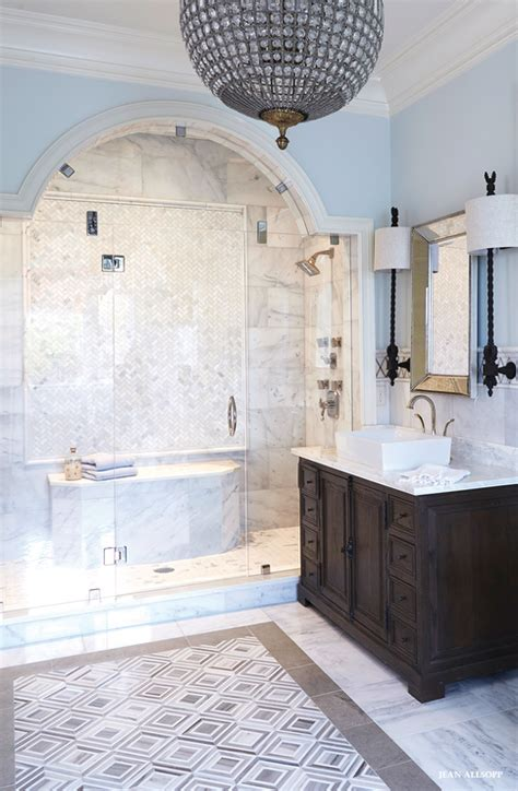 amazing bathroom features  arched glass shower clad