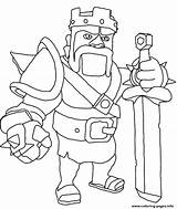 Clash Clans Coloring King Barbarian Pages Printable sketch template