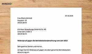 Abrechnung Nach Gutachten Musterbrief : widerspruch nebenkostenabrechnung mustervorlage mineko ~ Themetempest.com Abrechnung