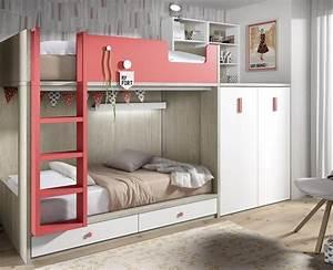 Lit Superposé Enfant : lit superpos enfant avec armoire et bureau amovible meubles ros ~ Teatrodelosmanantiales.com Idées de Décoration