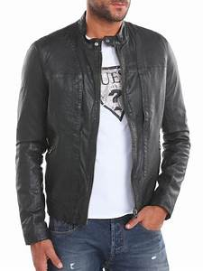 Guess Artist Leather Jacket in Black for Men | Lyst