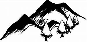 Pics For > Mountain With Trees Clip Art Black And White