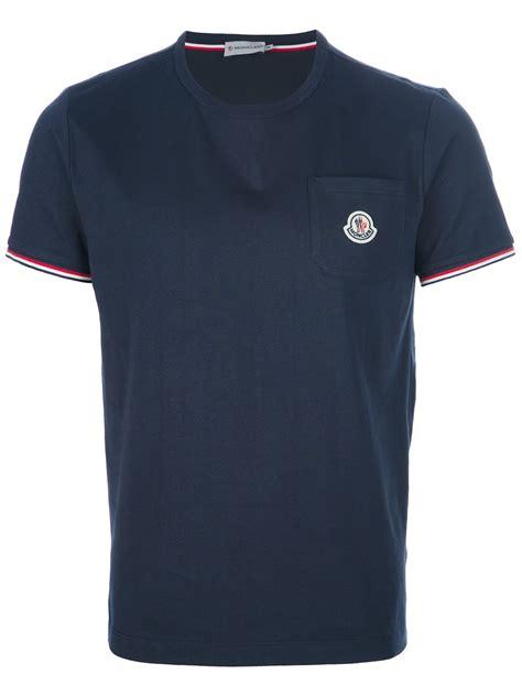 t shirt moncler logo pocket tshirt in blue for navy lyst