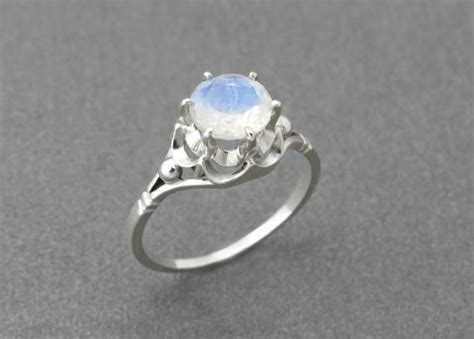 Unique Engagement Ring Rainbow Moonstone Engagement By