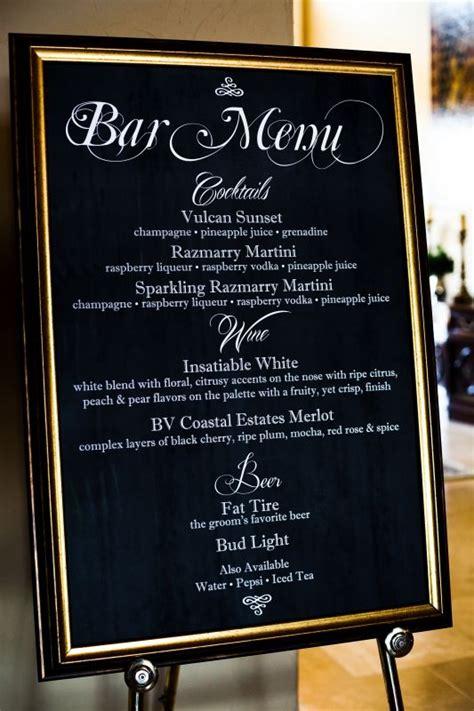 cocktail bar menu  chalkboard weddingbee photo gallery