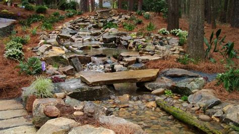 Man Made Mountain Stream With Pond, Patio,fire Pit