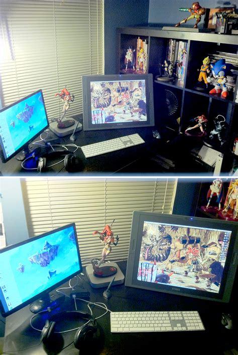 desk for digital artist current workspace by robaato on deviantart