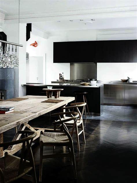 cuisine avec sol parquet le parquet noir en 45 photos