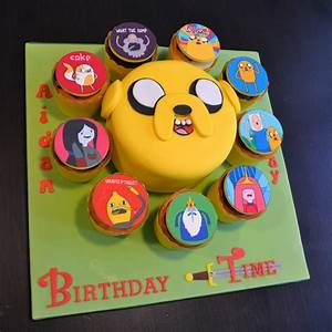 Adventure Time Jake Birthday Cake And Cupcakes ...