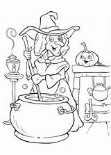 Coloring Halloween Witch Potion Cooking Witches Making Colouring Printable Funschool Glinda Painting Sheets Happy Adult Procoloring Draw Templates Netart Polyjuice sketch template