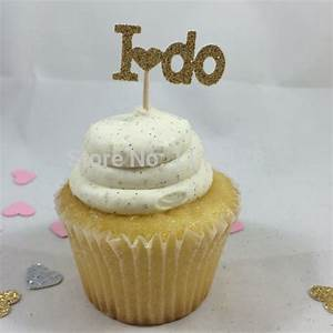 aliexpresscom buy gold glitter i do cupcake toppers With wedding shower cake toppers