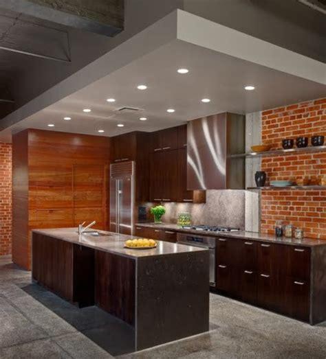 desain dapur minimalis modern  batu bata ekspos