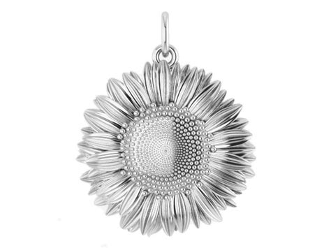 hand crafted sterling silver sunflower charm  hotmint