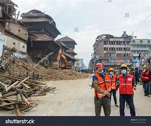 Kathmandu, Nepal - April 26, 2015: Rescue Team At Durbar ...