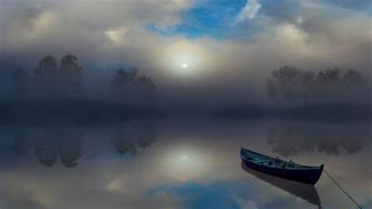 Calm Atmosphere Clouds Reflection Nature Boat Sunrise
