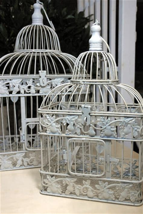 white bird cages for weddings wedding bird cage decorative antique card holder white metal set of two ebay